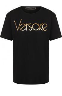 Хлопковая футболка прямого кроя с логотипом бренда Versace