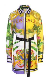 Шелковая удлиненная блуза с принтом и поясом Versace