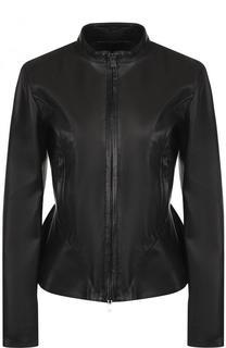 Приталенная кожаная куртка с воротником-стойкой DROMe