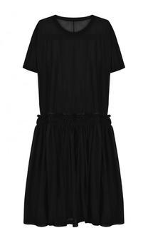 Однотонное платье свободного кроя с круглым вырезом Yohji Yamamoto