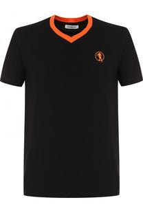 Хлопковая футболка с V-образным вырезом Dirk Bikkembergs