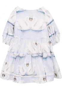 Платье свободного кроя с принтом Monnalisa