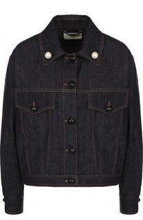 Джинсовая куртка свободного кроя с декорированной спинкой Fendi