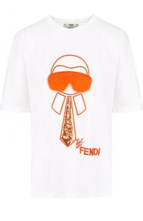 Хлопковая футболка с пайетками и меховой отделкой Fendi