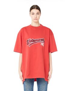 Красная хлопковая футболка Vetements
