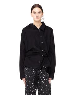 Черная хлопковая блузка с драпировкой Ann Demeulemeester