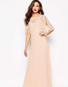 Платье макси с рукавом‑бабочкой и отделкой ASOS TALL - Розовый