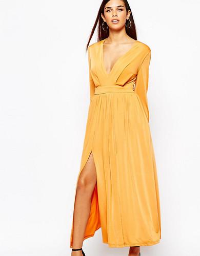 Платье макси в стиле 70-х с декольте и разрезами Lipstick Boutique Petite - Оранжевый