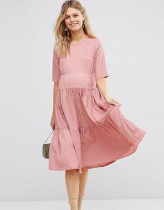 Короткое приталенное платье для беременных со складками ASOS Maternity - Розовый
