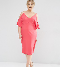 Платье-футляр с открытыми плечами ASOS CURVE - Розовый