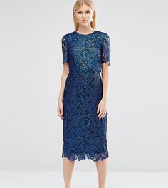 Двухслойное кружевное строгое платье с покрытием ASOS PETITE - Темно-синий