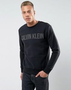 Черный свитшот с круглым вырезом и логотипом Calvin Klein Jeans - Черный
