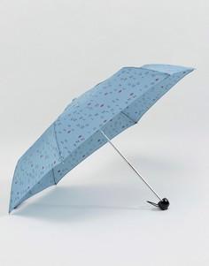 Синий зонт Lulu Guinness Superslim 2 Lulu Letters - Синий