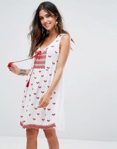 Пляжное платье с вышивкой Anmol - Белый