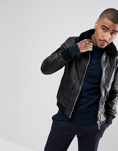 Кожаная куртка с меховым воротником AllSaints - Черный