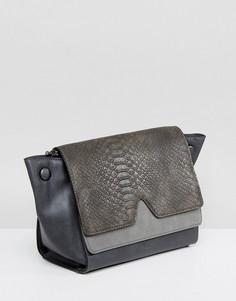 Серая сумка через плечо с эффектом змеиной кожи Nali - Серый