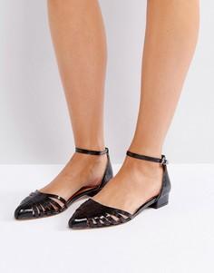 Остроносые туфли с вырезами на плоской подошве Ravel - Черный