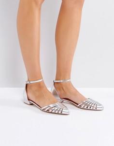 Остроносые туфли с вырезами на плоской подошве Ravel - Серебряный