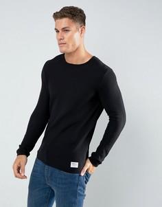 Джемпер с круглым вырезом из 100% хлопка Tom Tailor - Черный