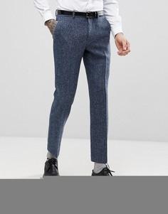 Синие брюки узкого кроя из 100% шерстяного харрис-твида ASOS - Синий