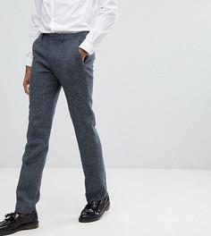 Синие узкие брюки в клетку из 100% шерстяного твида Харрис ASOS TALL - Синий