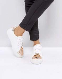 Кроссовки со вставкой металлик на носке Park Lane - Белый