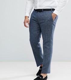 Синие брюки слим в клетку из 100% шерстяного твида Харрис ASOS PLUS - Синий