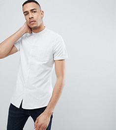Эластичная приталенная рубашка в полоску с воротником на пуговицах ASOS TALL - Синий