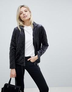 Стеганая бархатная куртка b.Young - Черный