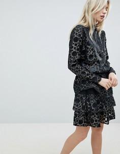 Полупрозрачное платье металлик в горошек b.Young - Золотой