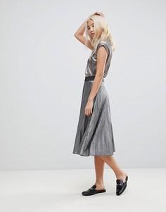 Плиссированная серебристая юбка b.Young - Серебряный