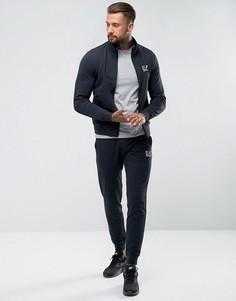Темно-синий хлопковый спортивный костюм на молнии EA7 - Темно-синий