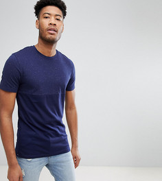 Эластичная хлопковая футболка Selected Homme TALL - Темно-синий