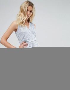 Короткое приталенное кружевное платье с запахом Amy Lynn - Синий