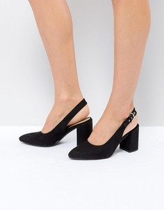 Туфли на каблуке с ремешком через пятку London Rebel - Черный