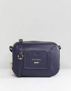Темно-синяя кожаная сумка на молнии с ремешком через плечо и карманом Paul Costelloe - Темно-синий