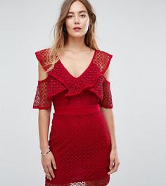 Кружевное платье мини с вырезами на плечах Missguided Tall - Черный