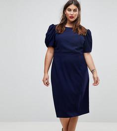 Платье-футляр миди с пышными рукавами ASOS CURVE - Темно-синий
