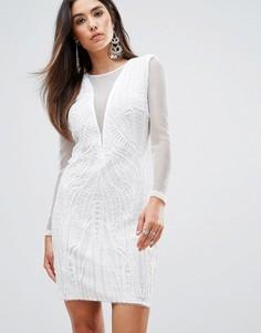 Облегающее платье с глубоким V-образным вырезом Forever Unique - Кремовый