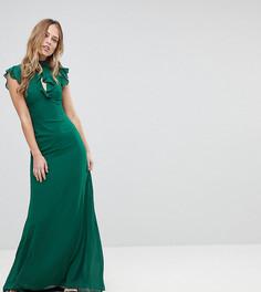 Облегающее шифоновое платье макси с расклешенными рукавами TFNC WEDDING - Зеленый