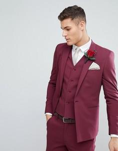 Пиджак узкого кроя с прямым низом винного цвета ASOS Wedding - Красный