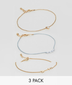 Набор из 3 браслетов на щиколотку с жемчугом и стрелой ASOS - Золотой