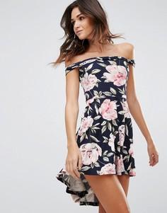 Платье бандо с цветочным принтом Ax Paris - Темно-синий