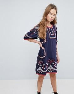 Свободное платье с вышивкой Hazel - Темно-синий