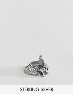 Серебряное кольцо с саблезубым тигром ASOS - Серебряный