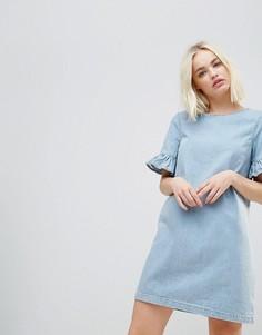 Джинсовое платье мини с оборками на рукавах Chorus - Синий