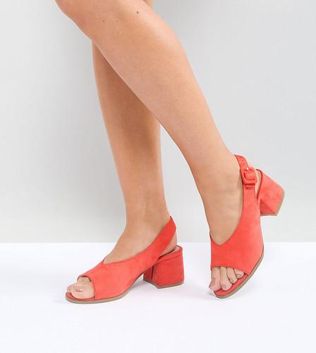 Босоножки кораллового цвета на среднем каблуке для широкой стопы Lost Ink - Оранжевый
