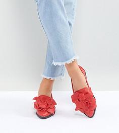 Красные туфли на плоской подошве для широкой стопы с цветочной отделкой Lost Ink - Красный