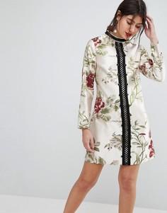 Платье мини А-силуэта с цветочным рисунком ASOS PREMIUM - Мульти