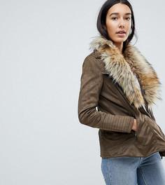 Куртка с воротником из искусственного меха Brave Soul Tall Bellini - Коричневый